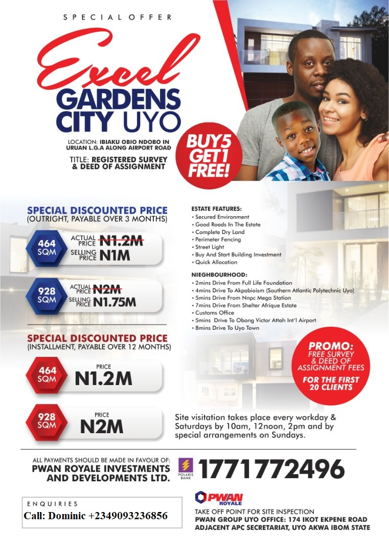 EXCEL GARDENS CITY ESTATE LAND FOR SALE