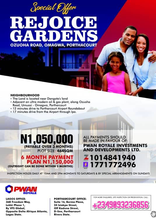 Now Selling at Rejoice Gardens Estate, Omagwa, Port Harcourt