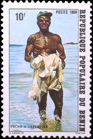 Pêche à l'épervier au Benin.
