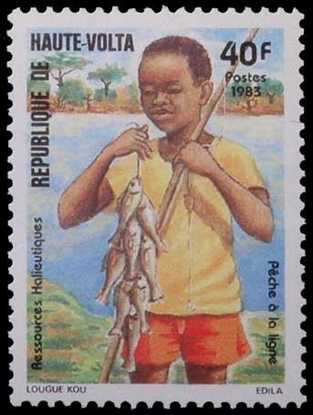 Pêche à la ligne au Burquina Faso.