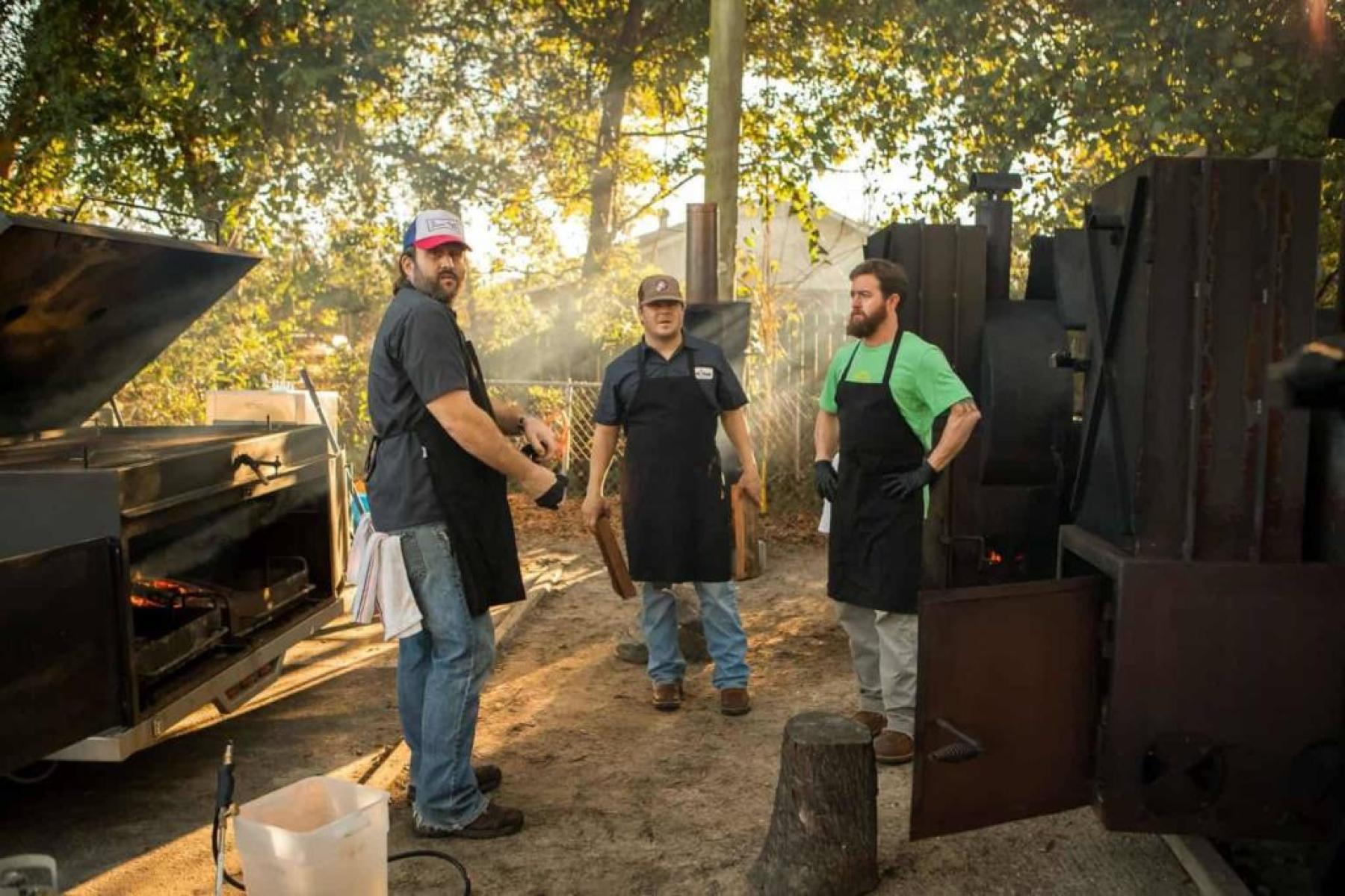 Madison Ruckel, Aaron Siegel, and Taylor Garrigan, founders of Home Team BBQ