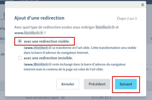Redirection de nom de domaine chez OVH - Etape 3