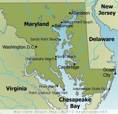 Maryland Beaches Map Maryland Beach Map