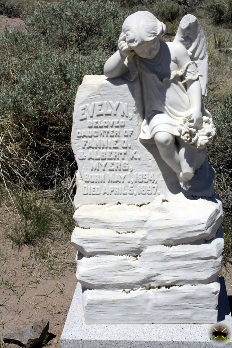 Evelyn Myers, a three year old girls grave marker located in Bodie, CA reminds us that not all mine camps were filled with men. Photograph by James L Rathbun