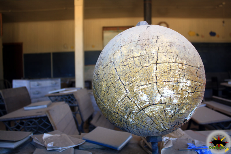 A deteriorated globe in the schoolhouse windows reminds us of the life that used be in Bodie. Photograph by James L Rathbun