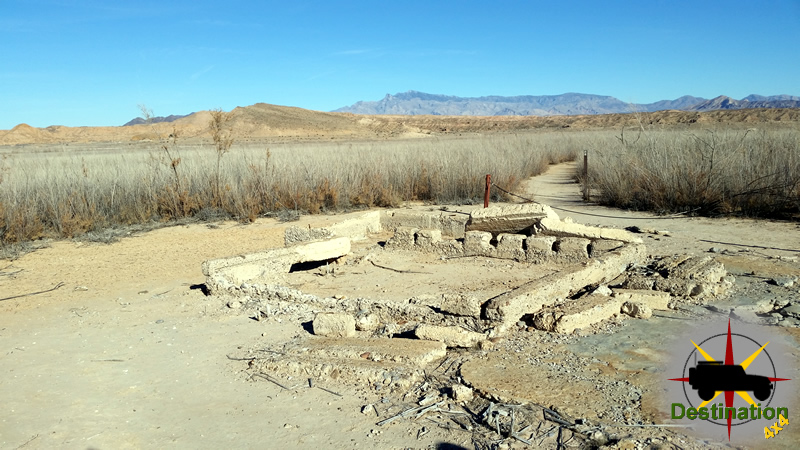 A building foundation in St. Thomas, Nevada which was drown when Lake Mead filled to capacity.