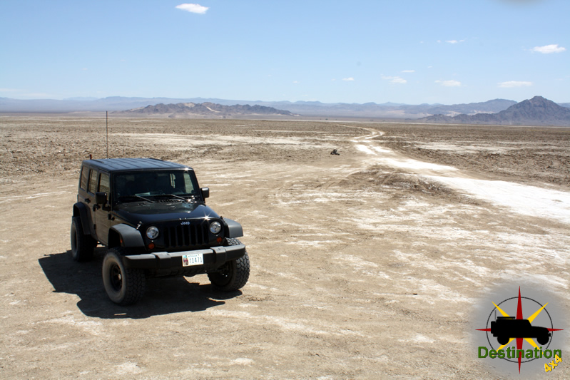 Heading towards the Travelers Monument on the other side of the dry soda lake.