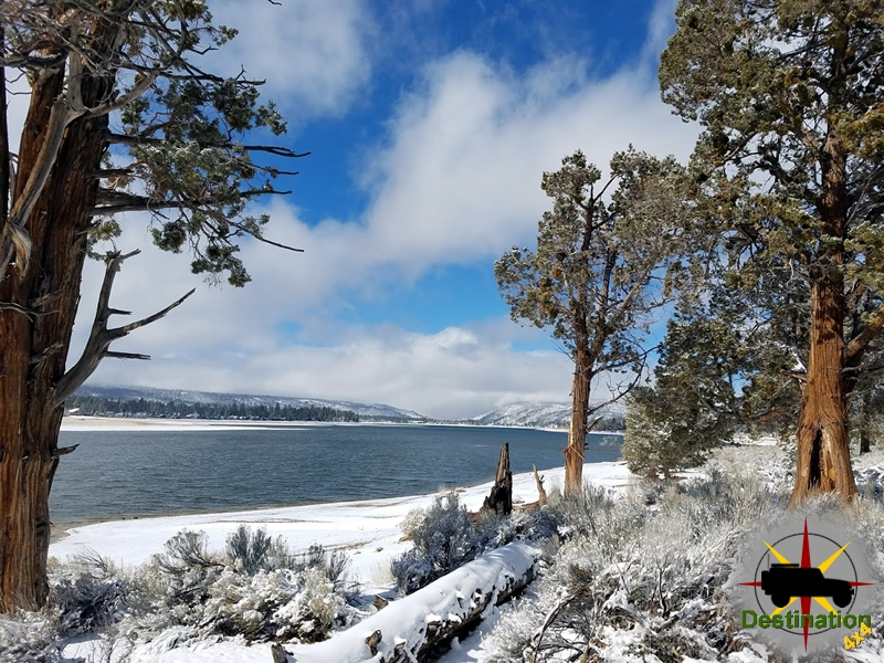 Big Bear Lake covered in snow.