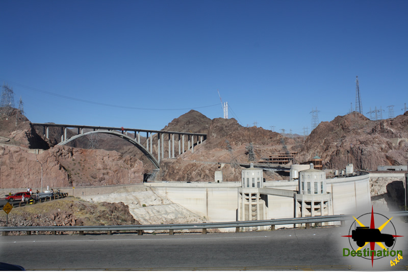 Hoover Damn Bypass seen from the top with Hoover Damn.