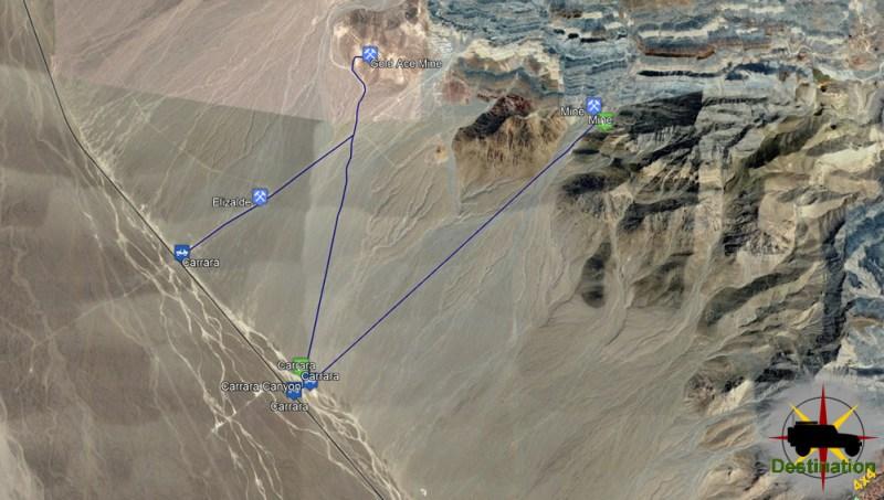 Carrara, Nevada Ghost Town Trail Map