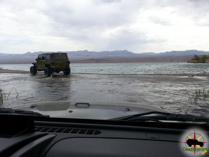 Driving onto the beach at Sandy Wash, Lake Mojave