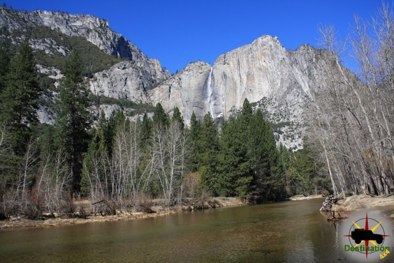 The Merced River flowing through Yosemite Valley.