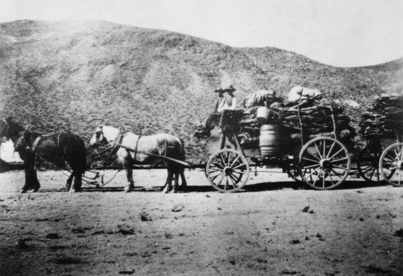 Cook's horse-drawn wagon at Death Valley's gold mining camp, Skiddo.