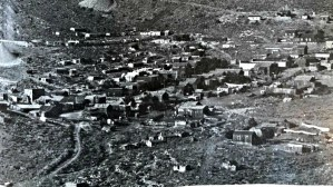 Delamar Nevada in the 1890's. Many of the buildings were transported from nearby Pioche on wagons. After the devastating fire in 1909, most of the remaining wooden buildings were transported back to Pioche.