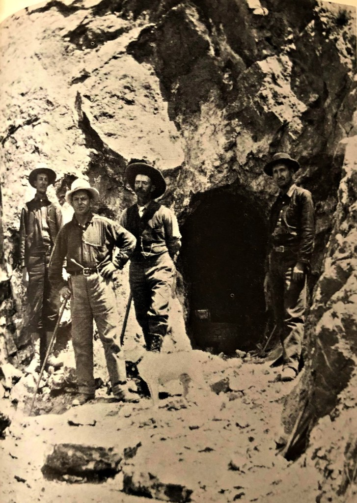 Fairview, Nevada prospectors examining mine, early 1900s - Stanley W. Paher, Nevada Ghost Towns and Mining Camps, (1970), Howell North, p 99,Theron Fox Collection