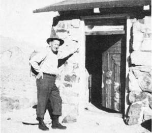 "Asa Russell ""Panamint Russ"" in front of the Geologist cabin - Courtesy of Desert Magazine April 1955"