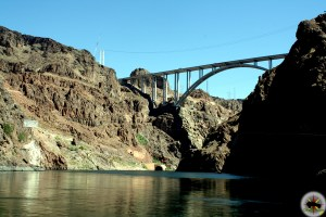 The Hoover Damn Bypass Bridge viewed from the Colorado River