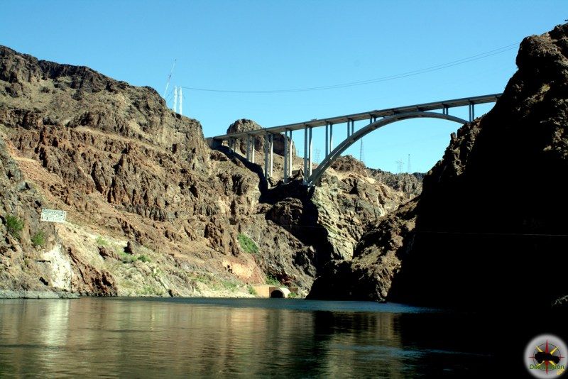 The Hoover Damn Bypass Bridge viewed from the Colorado River is accessible from Willow Beach
