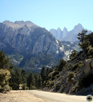 Mt Whitney looms large over the High Sierra, outside of Lone Pine, California