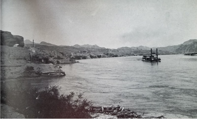 The steamboat Mohave departing the landing in El Dorado Canyon.