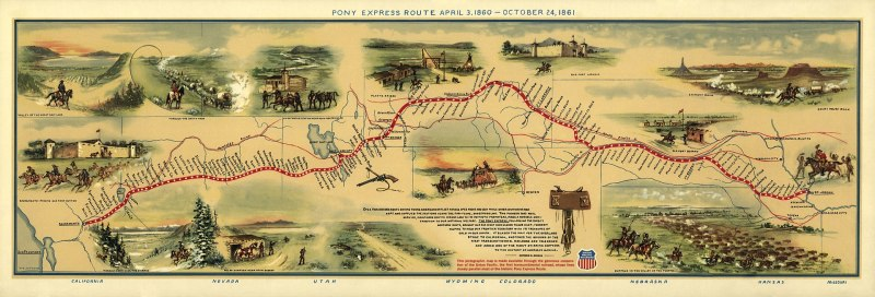 Illustrated Map of Pony Express Route in 1860 by William Henry Jackson ~ Courtesy the Library of Congress ~ The Pony Express mail route, April 3, 1860 – October 24, 1861; reproduction of Jackson illustration issued to commemorate the 100th anniversary of Pony Express founding on April 3, 1960. Reproduction of Jackson's map issued by the Union Pacific Railroad Company.