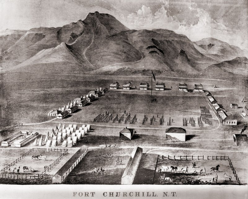 A lithograph drawing of Fort Chuchill, Nevada Territory created by Grafton Tyler Brown in 1862