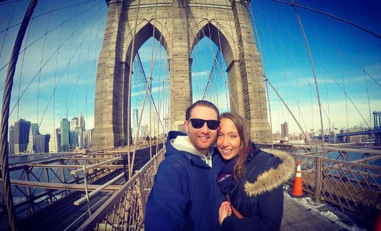 Beautiful day for a stroll over the Brooklyn Bridge, NYC