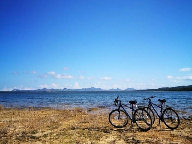 "Enjoying some peace & quiet after cycling to lake ""Presa El Salto"", Viñales, Cuba"