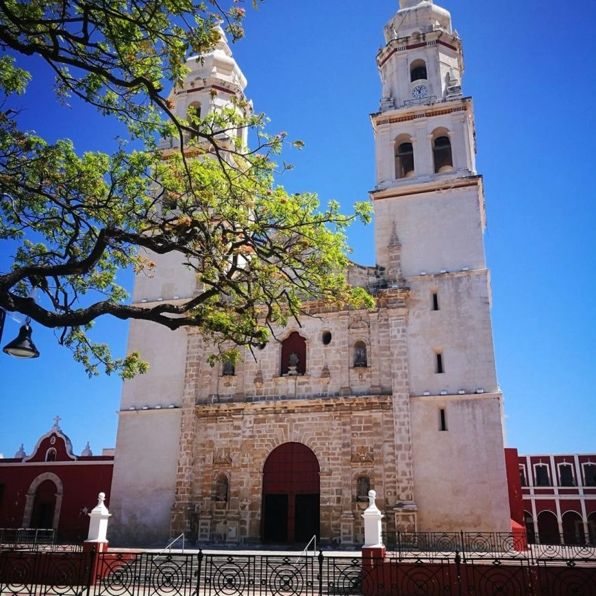 The looming Catedral de Campeche on the main plaza of Campeche, Mexico