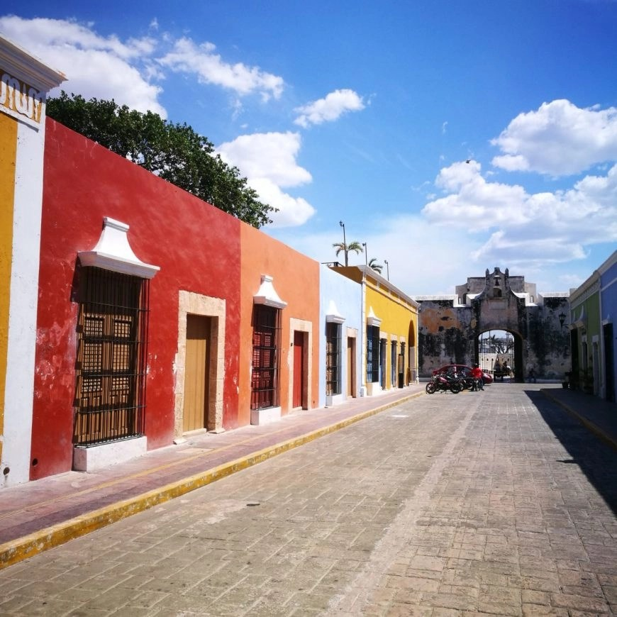 Destination Addict - Rainbow coloured buildings in the UNESCO city of Campeche, Mexico