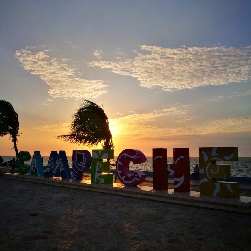 The colourful city sign of Campeche at sunset, Mexico