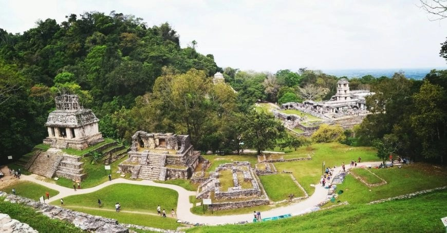 A view up high of Palenque ruins, Mexico