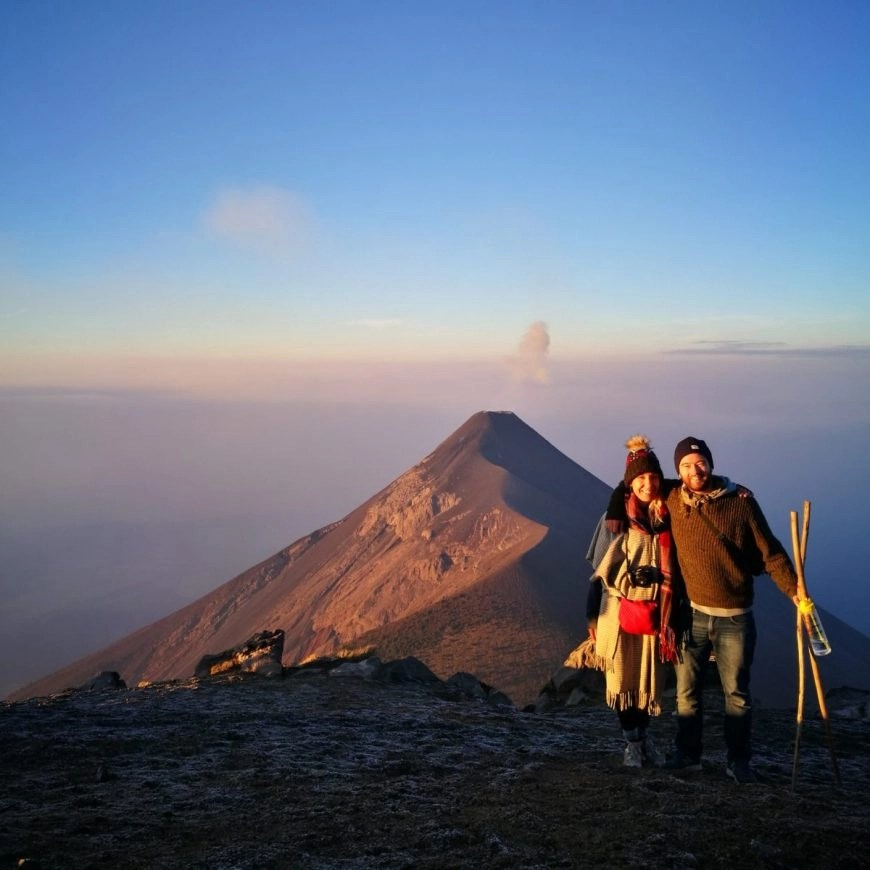 Destination Addict - Watching the Volcan de Acatenango near Antigua, Guatemala erupt at sunrise