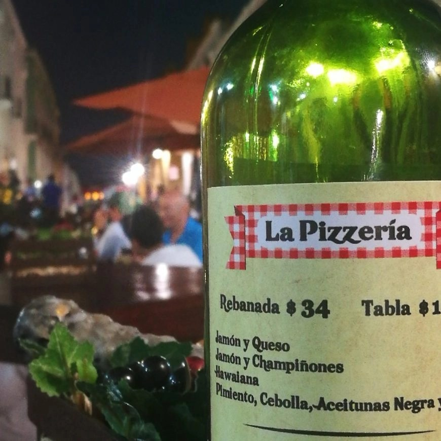 Destination Addict - La Pizzeria bottle menu, Campeche