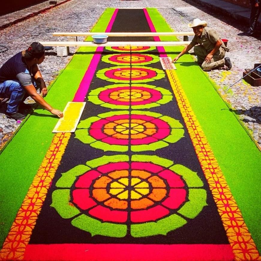 Destination Addict - Colourful Handmade Alfrombas on the streets of Antigua,Guatemala in the run up to Semana Santa