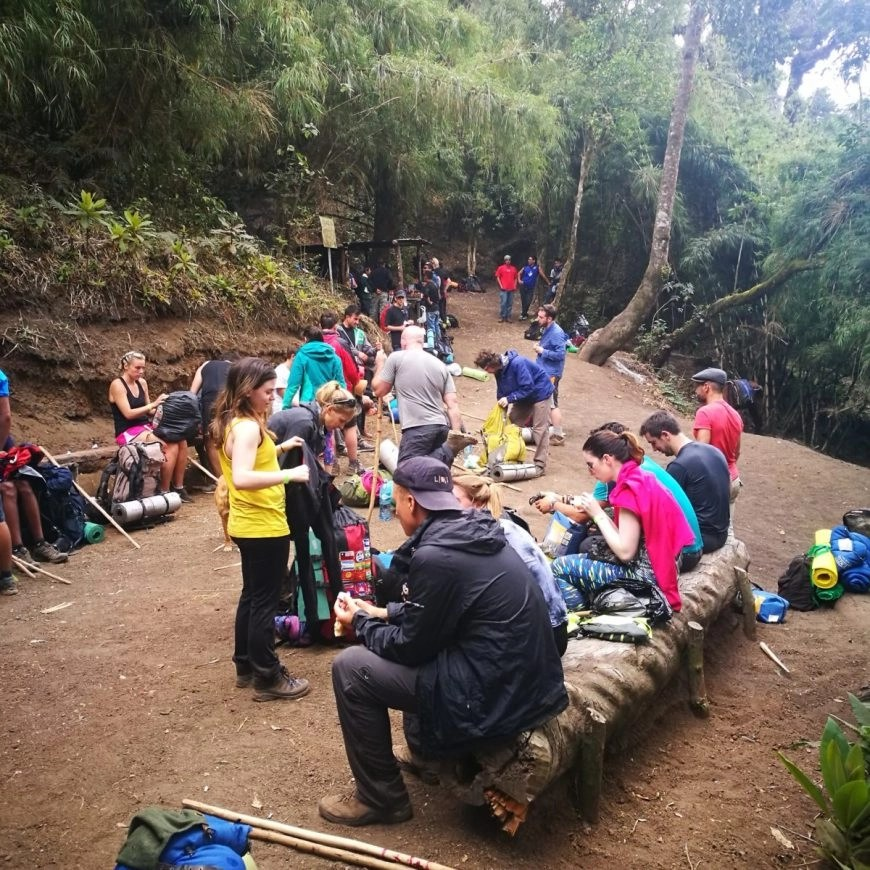 Destination Addict - Our group & another stopping for lunch, Volcan de Acatenango hike near Antigua, Guatemala