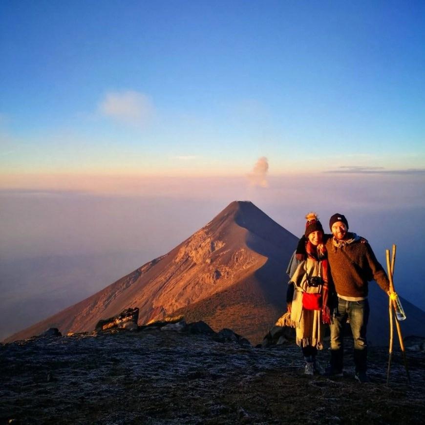 Destination Addict - All wrapped up & enjoying the views, Volcan de Acatenango hike, near Antigua, Guatemala