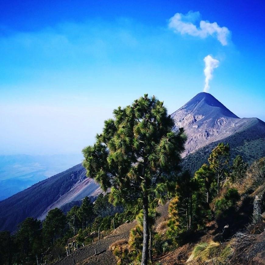 Volcan de Acatenango puffing like a dragon, near Antigua, Guatemala