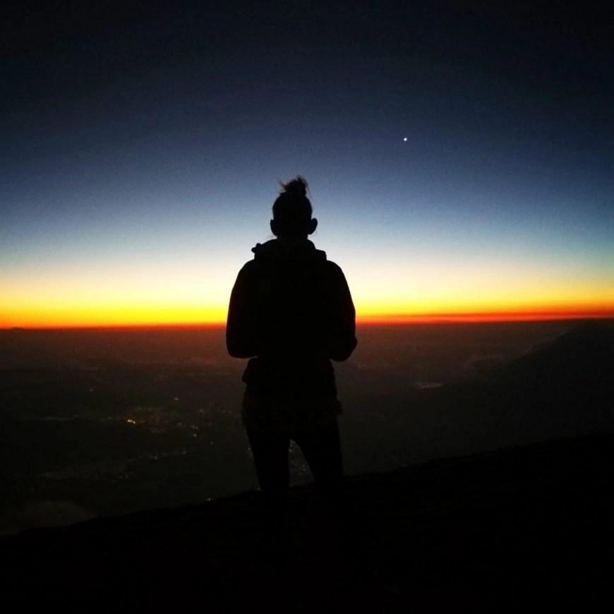 Taking a moment to watch the world wake up, Volcan de Acatenango hike, Guatemala