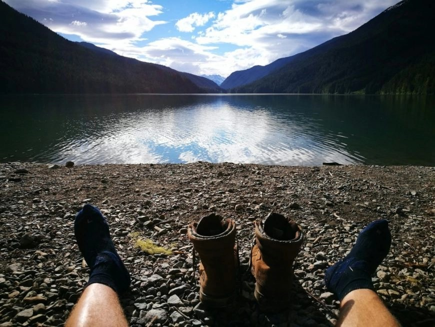 Destination Addict - Chilling after a long day hiking, Cheakamus Lake, near Whistler British Columbia, Canada