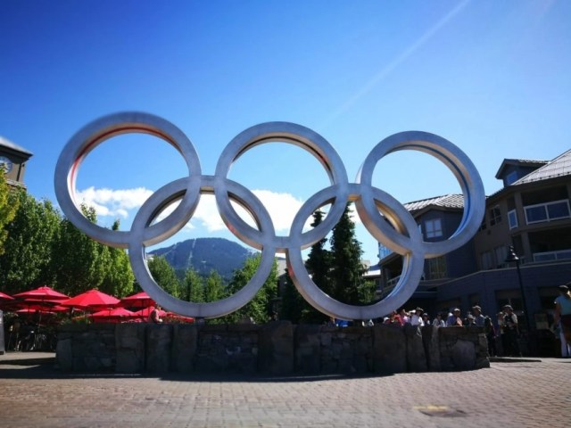 Destination Addict - Olympic Rings in Whistler Village, Canada