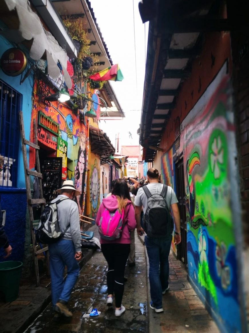 Destination Addict - Walking through the old, cobbled, street art filled streets of La Candelaria, Bogota, Colombia