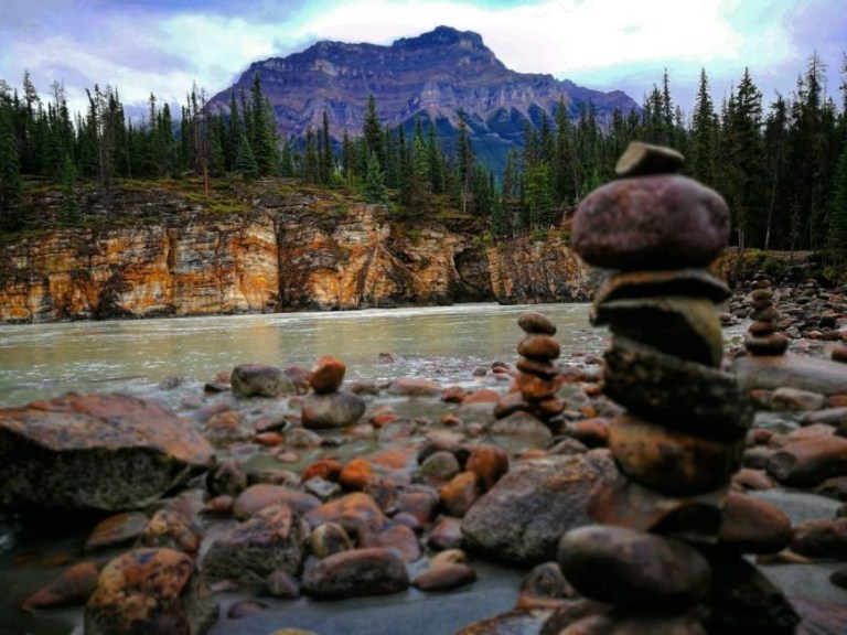 Destination Addict - Following the trail down to the river and small beach behind Athabasca Falls, Alberta, Canada