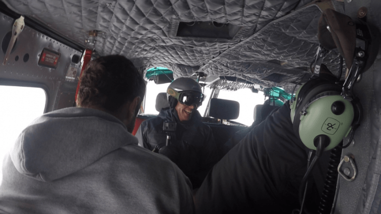 Back in the chopper after our first run. - Whistler heli ski