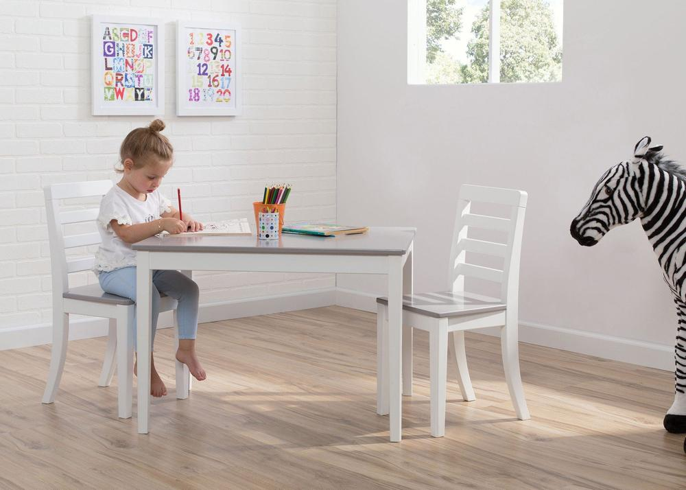 delta gateway kids table chair set in white and gray