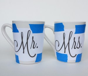 Design Taped On Mugs