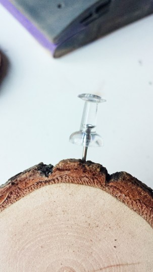 Pre-Poking a Hole for Eye Hooks (Wood Slice Christmas Ornaments)