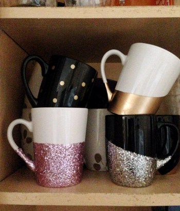 Organize Your Kitchen Cabinets with a DIY Mug Hanger   Use 3-M Command Hooks to Create More Cabinet Space   DIY Mug Organizer by Destination Decoration