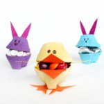 Egg Carton Chick and Bunny Candy Holders for Easter