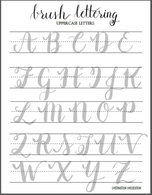 Free Brush Lettering Worksheet - Uppercase Letters   Water Brush, Brush Pen, and Calligraphy Worksheet   Destination Decoration